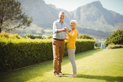 Senior couple dancing in park Royalty Free Stock Photos
