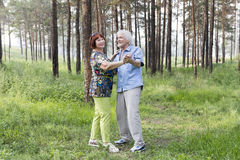 Senior couple dancing in a summer forest Royalty Free Stock Images