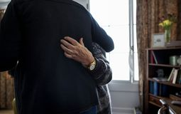 Senior couple dancing together at home royalty free stock photo