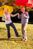 Senior couple dancing with umbrellas. In a park Royalty Free Stock Image