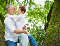 Senior couple dating in nature Royalty Free Stock Photos