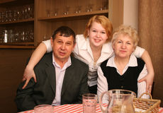 Senior couple with daughter Stock Image