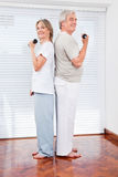 Senior couple doing dumbbell Stock Images