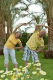 Senior couple doing exercises Royalty Free Stock Photography