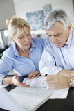 Senior couple doing paperwork with internet Royalty Free Stock Photos