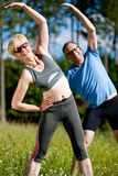 Senior couple doing sport exercising outdoors Stock Photo