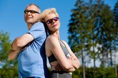 Senior couple doing sport exercising outdoors Royalty Free Stock Photo