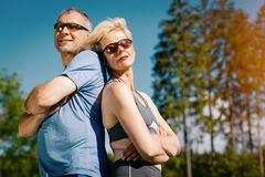 Senior couple doing sport outdoors Stock Photography