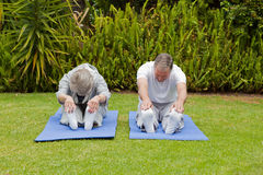 Senior couple doing their streches Stock Images