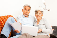 Senior Couple Don`t Understand The Internet Stock Photo