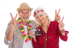 Senior couple dressed like a hippie Stock Photography