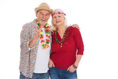 Senior couple dressed like a hippie Royalty Free Stock Photo