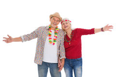 Senior couple dressed like a hippie Royalty Free Stock Photography
