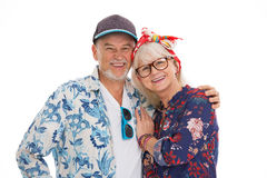 Senior couple dressed like a hippie Stock Images
