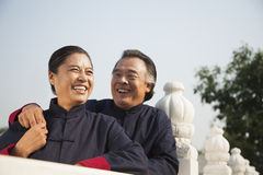 Senior couple dressed in traditional Chinese clothing, portrait Royalty Free Stock Photo