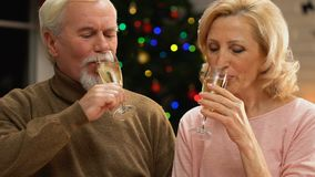 Senior couple drinking champagne, celebrating New Year Eve together, closeup. Stock footage stock video