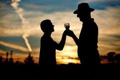 Senior couple drinking champagne Stock Photos