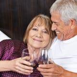 Senior couple drinking red wine Stock Photo