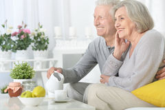 Senior couple drinking tea Royalty Free Stock Image
