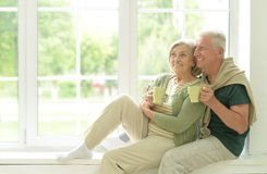 Senior couple drinking tea at home Stock Images