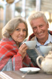 Senior couple drinking  tea Stock Images
