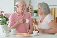Senior couple drinking tea Stock Photos