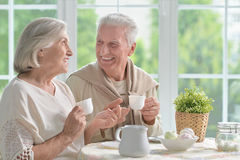Senior couple drinking tea Royalty Free Stock Images