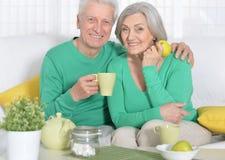 Senior couple drinking tea Stock Photography