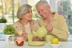 Senior couple drinking tea Royalty Free Stock Image