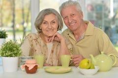 Senior couple drinking tea Royalty Free Stock Photography
