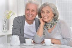 Senior couple drinking tea. Portrait of a happy senior couple drinking tea Stock Images