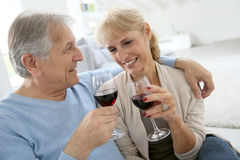 Senior couple drinking wine being happy Royalty Free Stock Photo