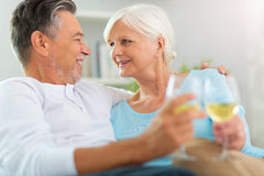 Senior couple drinking wine. At home Royalty Free Stock Photo