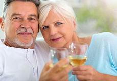 Senior couple drinking wine. At home Stock Photo