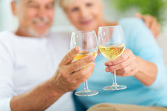 Senior couple drinking wine. At home Stock Image