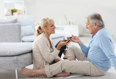 Senior couple drinking wine at home Royalty Free Stock Photography