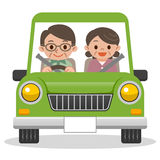 Senior couple driving in car Royalty Free Stock Images