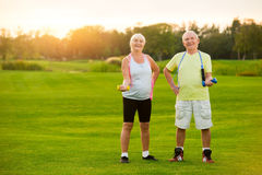 Senior couple with dumbbells. Stock Images