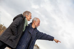 Senior couple elderly people together outdoor Royalty Free Stock Photos