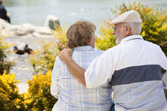 Senior Couple Embrace on a Bench in The Park stock image
