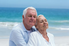 Senior couple embracing at the beach Stock Photo