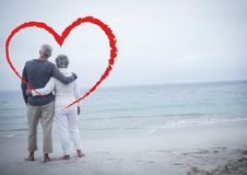 Senior couple embracing each other at beach Royalty Free Stock Photos