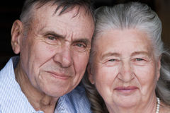 Senior couple embracing each other in countryside Royalty Free Stock Photos