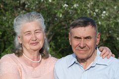 Senior couple embracing each other in countryside Stock Photography