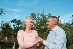 Senior couple embracing each other in countryside Stock Image