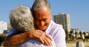 Senior couple embracing each other near seaside 4k stock video footage
