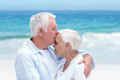 Senior couple embracing and kissing Stock Photography