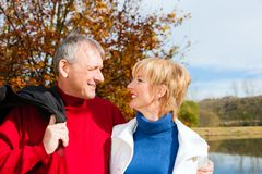 Senior couple embracing looking at each other stock photos
