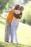 Senior couple embracing outdoors royalty free stock photo