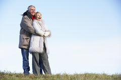 Senior Couple Embracing In Park Stock Photo